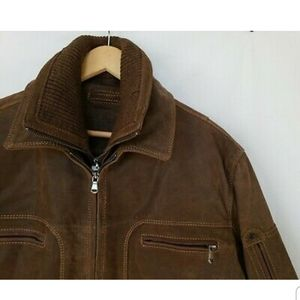 Roundtree And Yorke Mens Brown Leather Bomber Jack